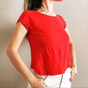 Ann Taylor Tops - Ann Taylor Slub Linen Crop Tee Red XS
